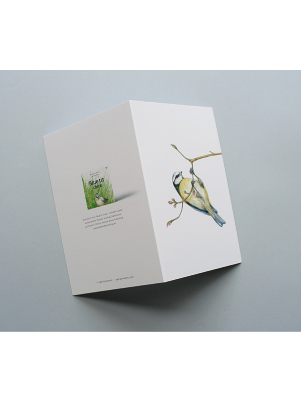 A6 CARD –blue tit hanging from a tree branch_open