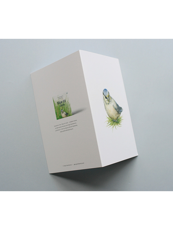 A6 CARD –blue tit chick in the grass_open.