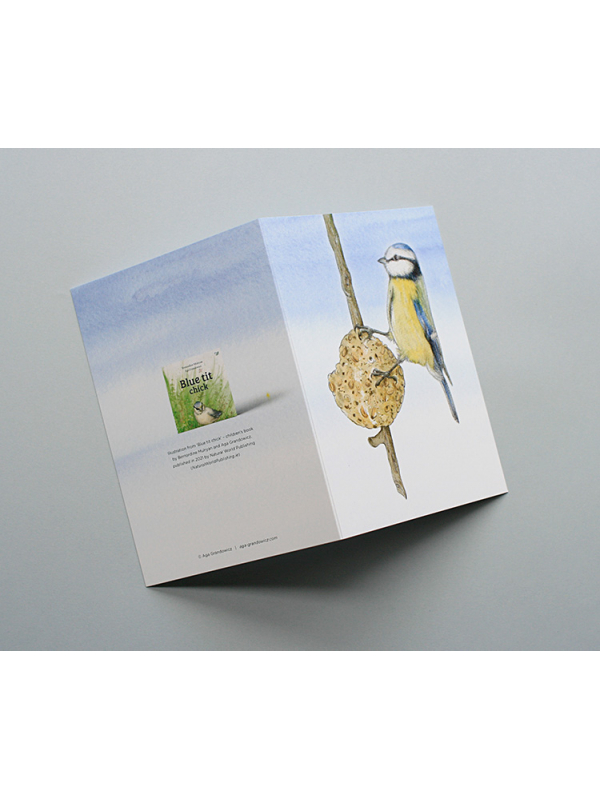A6 CARD –feeding blue tit – illustration from 'Blue tit chick'_open