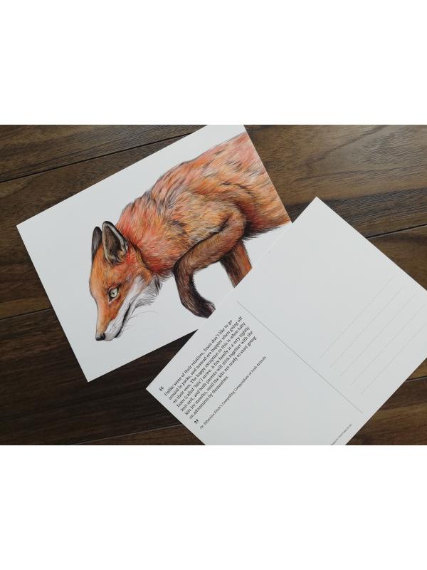 CARD A5 – Red fox – Wildlife illustration by Aga Grandowicz
