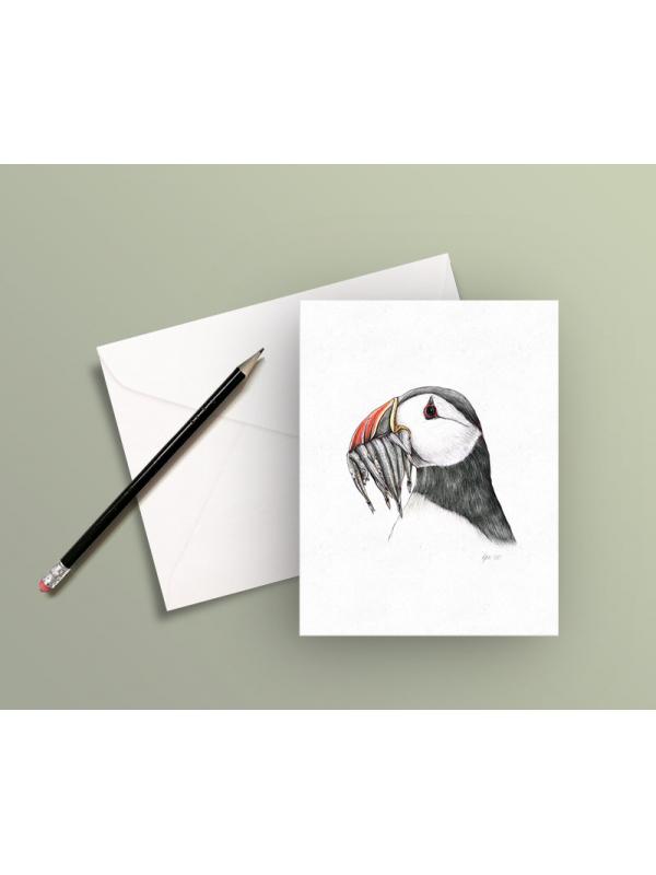 Greeting card – Atlantic puffin, illustration by Aga Grandowicz.
