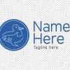 Predesigned duck and shark logo by Aga Grandowicz. Horizontal 2.