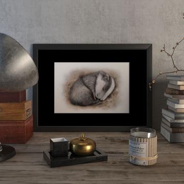 Sleeping cub of a European badger – original artwork by Aga Grandowicz.