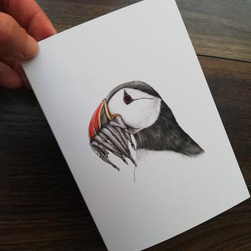 Greeting card A6 (folded A5) – Atlantic puffin, illustration by Aga Grandowicz.