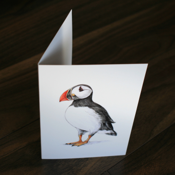 CARD – Wildlife illustration of a puffin, as featured in 'Dr Hibernica Finch's C