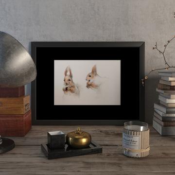 Two red squirrels –original artwork by Aga Grandowicz