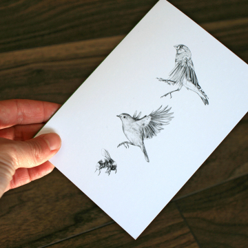 A6 CARD – Two birds and a bumblebee